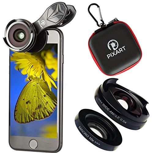 PIXART Handy Linsen Set 2 in 1-120° Weitwinkelobjektiv + 10x Makro-Objektiv Linse kompatibel mit Dual cam iPhone XS/xs max/xr/x/8 Plus,Samsung Galaxy Note s9/s8/s7