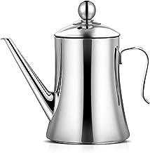 Oil Can Kitchen Dispenser, 1L/1.5L Stainless Steel Oil Canister Olive Oil Pourer Pot Soy Sauce Vinegar Cruet Non Drip Spou...