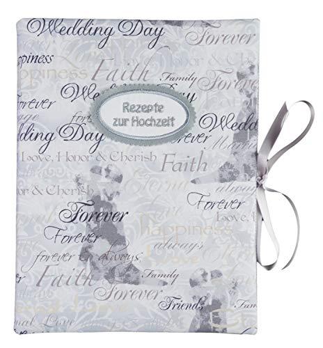 bettina bruder - Hochzeitsrezepte Rezeptmappe DIN A4 - innen 30 Sichthüllen - Weddingday Hochzeitstag weiß grau Hochzeit