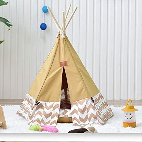 Pet Teepee House Tents Wood Canvas Tipi Fold Away Zelt M l Katzenbett Litter Kennel Removable Und Washable Small Nest Medium Large Dog Multi Farbe Options,braun,Large(withoutpad)