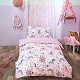 Dreamscene Unicorn Kingdom Toddler Duvet Cover with Pillowcase Reversible Kids Bedding Set, Girls Fairy Castle Pink - Junior/Cot Bed 120 x 150