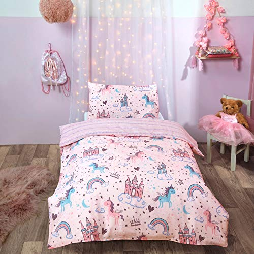 Dreamscene Unicorn Kingdom Toddler Duvet Cover with Pillowcase Reversible Kids Bedding Set, Girls Fairy Castle Pink - Junior/Cot Bed 120 x 150