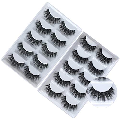 Foraineam 10 Pairs 3D Natural Look False Eyelashes Reusable Hand-made Thick Curly Fake Lashes