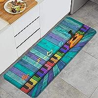 ECOMAOMI キッチンマット 洗える 45*120cm 縞模様の木製の壁と床のメロディーの音符のカラフルなキーボードとギター キッチンマット 滑り止め 柔らかく おしゃれ 台所 マット お手入れ簡単