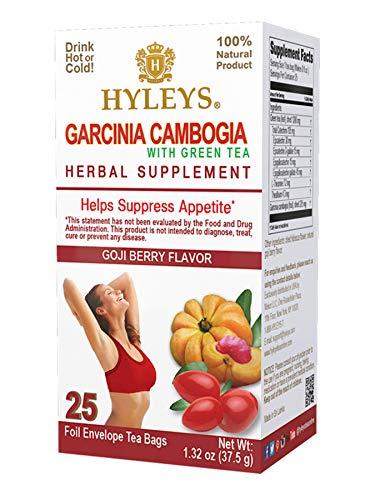HYLEYS Tea 12 Pack - Wellness Garcinia Cambogia Green Tea Goji Berry - 25 bags (100% Natural, Sugar Free, Gluten Free and Non GMO), Goji Berry, 300.0 Count (Pack of 12)