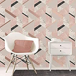 A stunning marble effect wallpaper with a modern geometric pattern, features metallic detailing 10m (32.8ft) long x 52cm (20.5in) wide 53cm pattern repeat, straight pattern match Paste the paper wallpaper, wipeable Colour: Blush Pink / Rose Gold