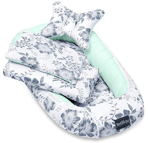 Bellochi 5 tlg. Baby Kuschelnest-Set - aus 100% Baumwolle - ÖKO-TEX zertifiziert - inkl Babynestchen 90x60 cm, Kuscheldecke, Kopfkissen, flaches Kissen mit Bezüge - Mint Berry