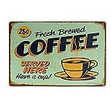kentop Retro Cartel de chapa Café placa de pared (placa para puerta metal Publicidad Pared Cartel para bar Coffee Shop pared decoración