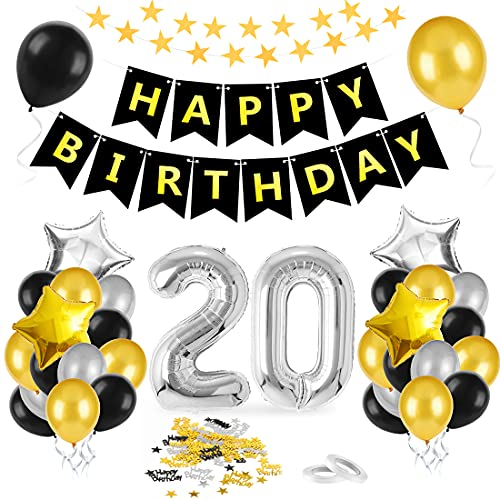 Bluelves 20 Anni Palloncini Compleanno, Palloncini Numeri 20 Nero Oro Argento, Kit Decorazioni 20 Compleanno, Addobbi Compleanno Adulti Festa Decorazioni, Nero Oro Striscione Foil Palloncini