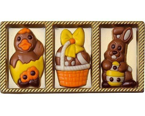 Weibler Confiserie 3 Figure di Pasqua in Cioccolato al Latte: Pulcino, Cestino con Uova e Coniglio - 1 x 30 Grammi