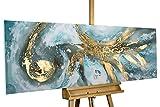 KunstLoft Acryl Gemälde 'Enigma' 150x50cm | original handgemalte Leinwand Bilder XXL | Bunt Warme Farben Abstrakt Strudel | Wandbild Acrylbild Moderne Kunst einteilig mit Rahmen
