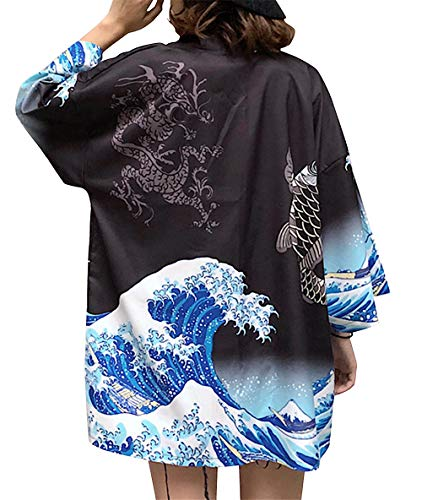 LAI MENG FIVE CATS Women's Summer Loose fit Beach Japanese Kimono Cover up OneSize US S-XL