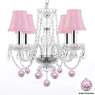 Amazon.com: Chandelier Lighting W/cristal en tonos rosas ...