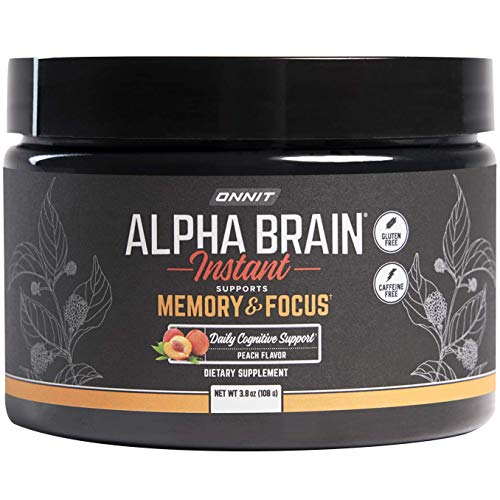 ONNIT Alpha Brain Instant - Natural Peach Flavor - Nootropic Brain Booster Memory Supplement - Brain Support for Focus, Energy & Clarity - Alpha GPC Choline, Cats Claw, L-Theanine, Bacopa - Tub