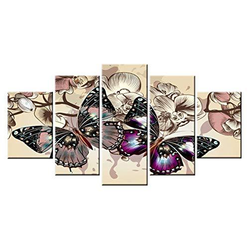 TOOGOO Diamant Papillon Multi-Image Combinaison Pleine Carré Broderie Point de Croix Peinture Art Cadeau 5 PCs/Set