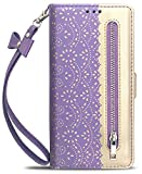 Luxury Flip Wallet Case for Samsung Galaxy S10 (6.1 inch) Printed Lace Folio Kickstand Feature with Wristlet Lanyard Card Slots Cover for GalaxyS10 (Purple)