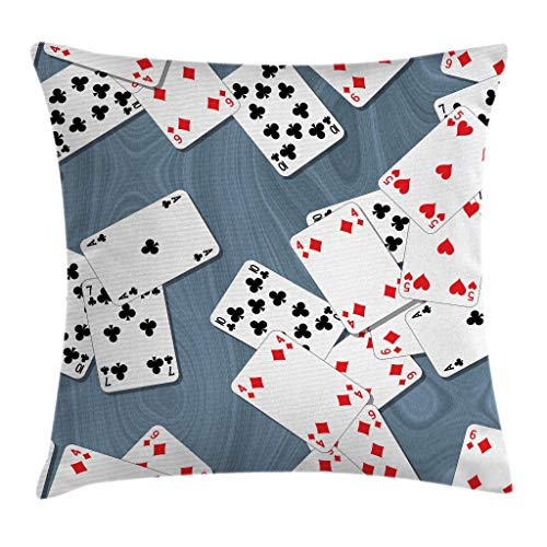 Ambesonne Casino Throw Pillow Cushion Cover, Abstract Background with Playing Cards Metropolitan...