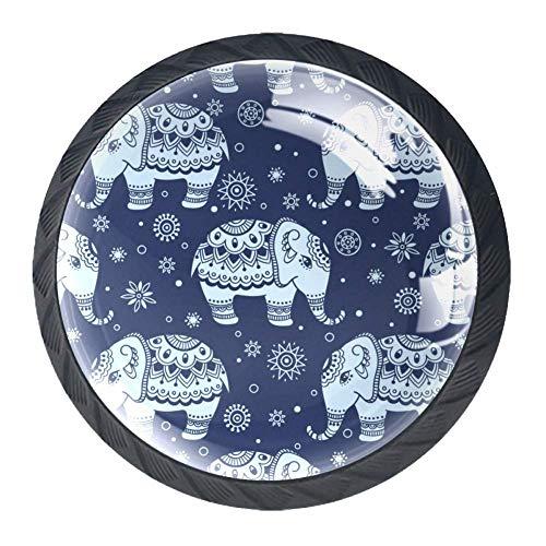 Bennigiry 4 Stück indischer Lotus Ethnic Elefant Kristall Glas Schubladenknauf Zuggriff 30 mm ergonomisch rund Möbelgriff für Küche Kommode Schrank Kleiderschrank