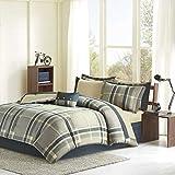 Intelligent Design Robbie Full Size Bed Comforter Set Bed in A Bag - Blue Navy, Plaid – 9 Pieces Bedding Sets – Ultra Soft Microfiber Bedroom Comforters