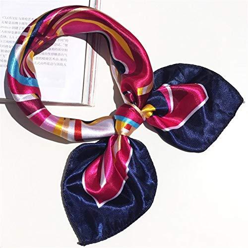 GUI Bufandas 50 * 50 multifunción Bufanda de Seda de Las Mujeres de Moda de la Cinta Rayada Impresa Flor Bufandas Leopardo del Pelo del Lazo Headwear Retro del pañuelo for el Cuello (Color : A20)