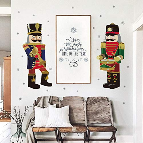 ufengke Christmas Nutcrackers Wall Stickers Snowflakes...