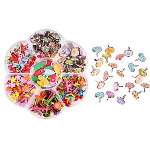 EXCEART 1 Caja Mini Clavitos Clavitos Multicolores Sujetadores de Papel de Metal Clavos en Colores Pastel para Scrapbooking Adorno Artesanal Estampado Herramienta de Bricolaje