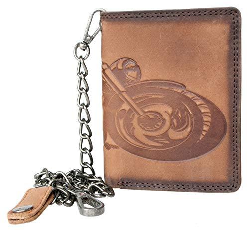 Portafoglio RFID da motociclista in vera pelle con una moto, con catena in metallo lunga 45 cm