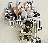 PanYFDD Estante de cocina de acero inoxidable para pared, estante de almacenamiento, bloque de cuchillos, estante organizador de cocina, acero inoxidable, 50cm