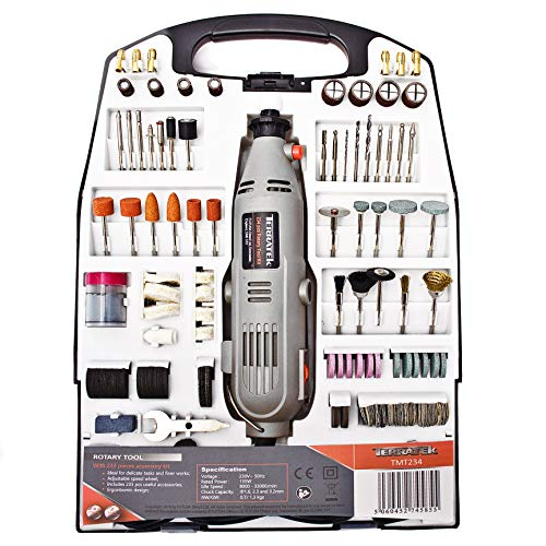 Terratek Rotary Tool Kit 135W with 234pc Accessory Set & Storage Case, Variable Speed 8000-33000rpm, Ideal for DIY, Woodwork & Hobby Craft, Dremel Compatible