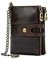 Genuine Leather Soft Bifold Rfid Wallets for Men Coin Purse Keychain Snap Zip Wallet with Chain Coffee
