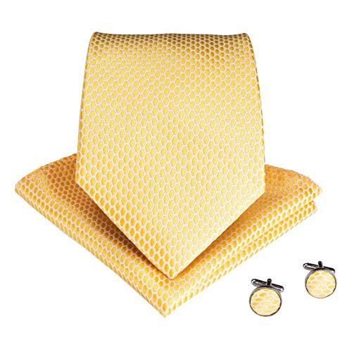 WOXHY Cravate Homme Cravate en Soie Solide Jaune pour Hommes