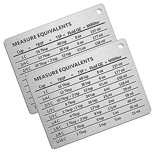 Professional Measurement Refrigerator Magnet Stainless Steel Conversion Chart, Measure Equivalent Chart, 2pcs Fridge Magnet - Size 4.3 x 3.3 Inches