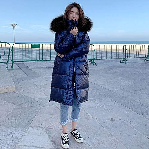 Xiaojie damesmantel van katoen winterjas dames warm dikke hooded met echte lange coating shining stof stijlvolle female