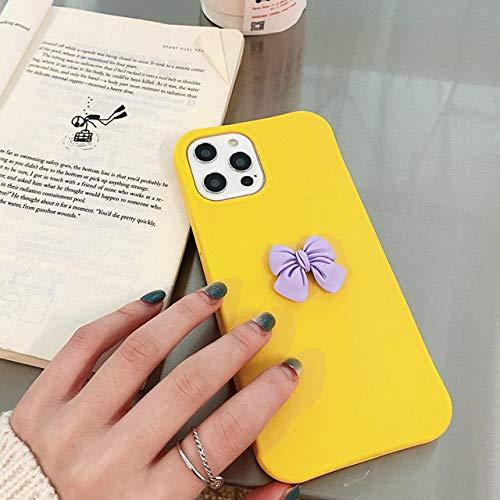 Handyhülle Für iPhone 12 Mini 11 Pro X XR XS Max 6 6s 7 8 Plus SE 2 Mode Schöne 3D-Schleifenknoten Bonbonfarben Soft Phone Hülle, gelb, Für iPhone 12