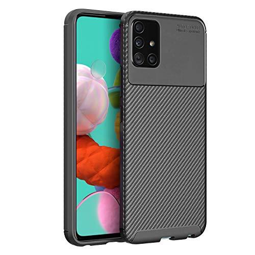 Olixar Samsung Galaxy A51 Hülle Carbonfaser - Zwei Schichten - Aktive Stoßdämpfung - Fallschutz Carbon Fibre - Induktives Laden Möglich - Schwarz