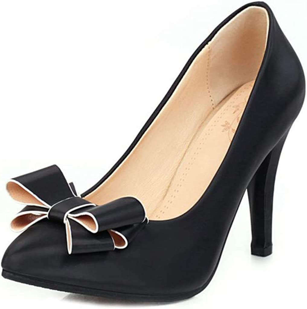 GCOCO Women's Fashion Pointed Toe Bowtie PU C Brand Cheap Sale Venue Year-end annual account Pumps Leather Heel