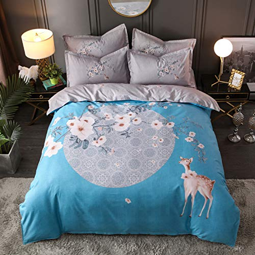 BH-JJSMGS Printed duvet cover and pillowcase, bedding-fade resistant and stain resistant, with zipper opening and closing, 200 * 230cm fawn-blue