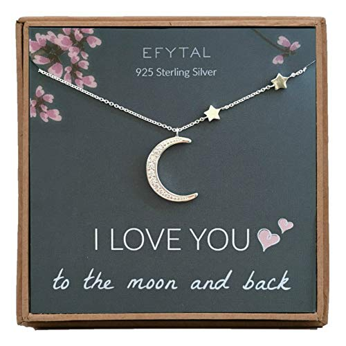 EFYTAL Mom Gifts, 925 Sterling Silver CZ Crescent Moon & Stars Necklace for Mother, Necklaces for Women, Best Birthday Gift Ideas, Pendant Mother's Jewelry For Her, Mothers Day