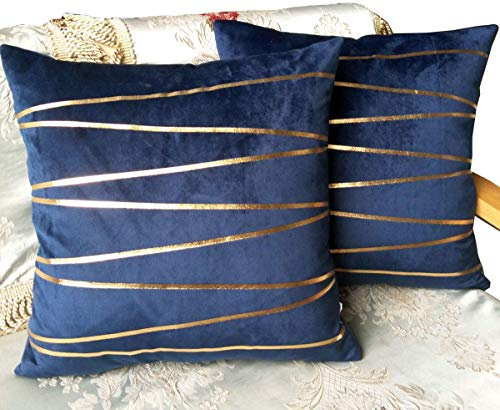 ZUODO Pack of 2 Navy Velvet Square Pillow Covers Gold Foil Stripe Printing Velvet Cushion Covers 45 x45 cm Embroidered Decorative for Couch Bed Car Set of 2 (Gold Stripe- navy, 2)