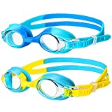 Swimming Goggles,(2 Pack) Kids Swimming Goggles With Anti Fog Lens & Wide View,Flexible Nose Bridge,Soft Silicone Swim Goggles with Portable Bag for 3-14 Years Old Girls Boys Children