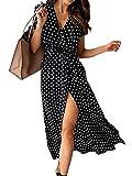 Edjude Vestidos Lunares Largos Mujer Manga Corta en Cuello V Verano Otoño Vestido de Playa Fiesta Elegante Negras y Blancas XL