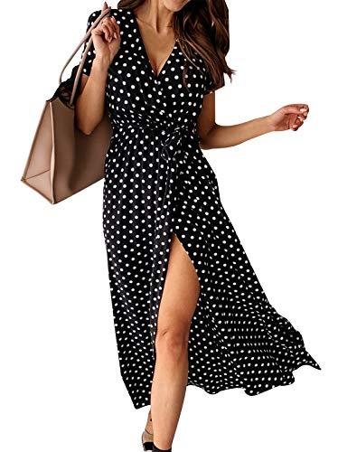 Eledobby Vestido Cruzado Mujer Cuello en V Profundo Bohemio Lunares Manga Corta Vestido Largo con Cinturón Elegante A Línea Volantes Ropa Casual para Fiesta Playa Negro L