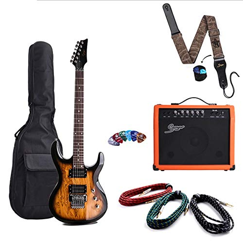 Boll-ATur 24 Bass Double E-Gitarre 6-saitige E-Bass-Gitarre Floating Vibrato System E-Gitarre kommt mit einer Show-Tasche, Lautsprecher, Gitarrengurt, E-Gitarrenkabel, Plektren
