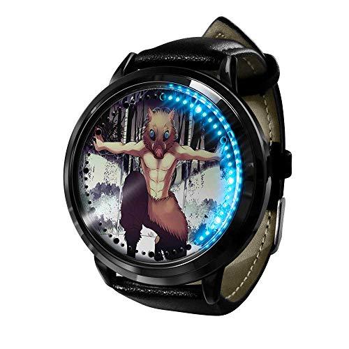 Anime Demon Slayer Serie Reloj de Cuarzo analógico a Prueba de Agua Reloj de Banda de Gel de sílice de Acero Inoxidable Reloj de Moda Unisex Niño Niña Regalo-A