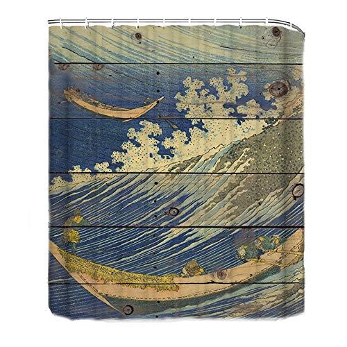 WFLJ douchegordijn, met gravure op hout, oceaangolven, anti-schimmel, eenvoudig aan te brengen, langere lengte, douchegordijn, gemaakt van polyester, met 12 haken, voor hotel