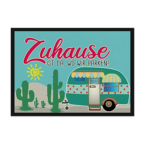 Print Royal Camping Fußmatte mit lustigem Spruch - Kakteen - Zuhause ist da, wo wir parken - Geschenkidee/Camping Zubehör/Campingmatte/Vorzeltteppich - 75 x 50 cm