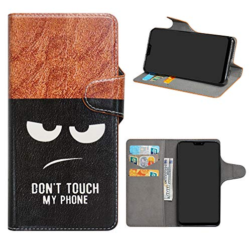 Asus Zenfone Max Pro (M2) Leder hülle,HHDY Painted Muster Wallet Handyhülle mit Kartenfächer/Standfunktion Hülle Cover für Asus Zenfone Max Pro (M2) ZB631KL,Don't Touch