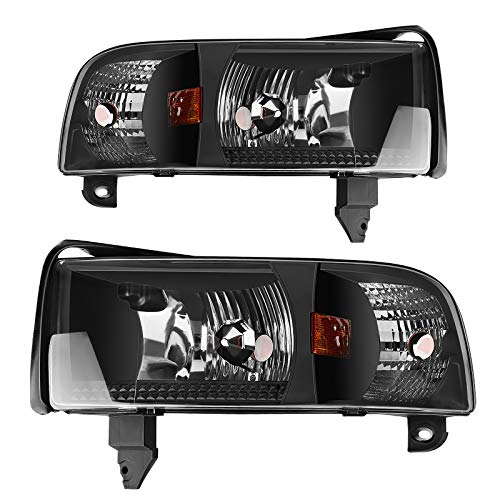 AUTOSAVER88 Headlight Assembly Compatible with 94-01 Dodge Ram 1500/94-02 Dodge Ram 2500 3500 Replacement OE Projector Headlamp,Black Housing with Corner Lamps