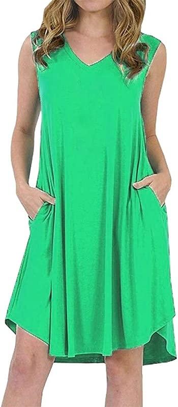 Onegirl Midi Flared Summer Women S Sundress Dress With Pocket Ladies Sleeveless Swing Dress