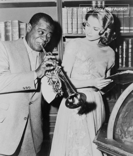 1956 Louis Armstrong and Grace Kelly both featured along with Bing Crosby, Frank Sinatra and Celeste Holm in the MGM motion picture 'High Society' Vintage 8x10 Photograph - Ready to Frame